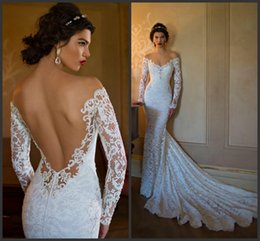 Wholesale Berta Wedding Dresses Mermaid Cheap Lace Long Sleeve Sheer Bridal Dress Sexy Vintage Off the Shoulder Spring Backless Ball Gowns Beach