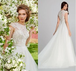 Wholesale 2016 Grecian Style Wedding Dresses Sexy A Line Sheer Crew Neck Short Sleeve Zipper Back Lace Applique Beads Pleats Sweep Train Bridal G