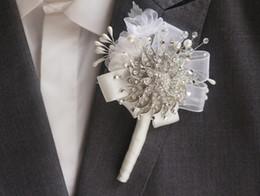 Ручная работа корсажи жениха, лучшие цветы отворота человека, серебряные броши, шифон, кристалл, жемчуг, свадебные аксессуары для смокинга