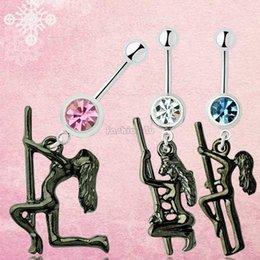 Wholesale ES0887 steel gem vintage stripper dancer pole design dangle barbell navel ring bar belly button ring