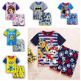Wholesale Brand New summer suits children clothing baby boys girls cotton short sleeve tops shorts pajama sets styles kids clothes years