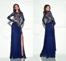Wholesale Dark Royal Blue Lace Evening Gowns Tarik Ediz Long Sleeve Formal Dress Mermaid Shape Front Split Prom Dresses See Through Tulle Ruffles