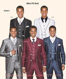Wholesale 2015 easy suit Two Buttons Groom Tuxedos Notch Lapel Best Man Groomsmen burgundy silver black Men Wedding Suits Jacket Pants Tie Vest