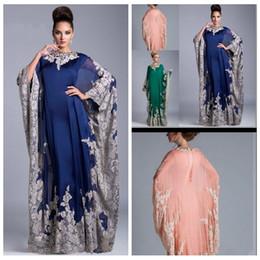 Wholesale Plus Size Column Vintage Arabic Kaftan Royal Blue Evening Prom Dresses Lace Appliques Abaya Dubai Chiffon Mother Of The Bride Formal
