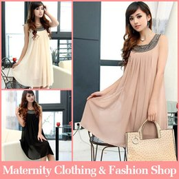Wholesale 2015 Summer Pregnant Maternity Dresses Sleeveless Casual ALine Pregnancy Clothes For Pregnant Women Clothing Gravida Chiffon Knee length
