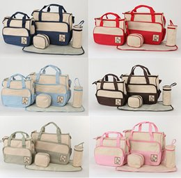 Wholesale 2015 New Designers Multifunctional Diaper Bag Tote Mummy Baby Bags Fashion High quality Nappy Changing Bag Maternity Bag Set Colors