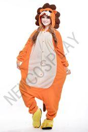 Wholesale 2016 Cosplay lion Pajama No Shoes Pajamas Hooded Conjoined Sleepwear Costumes Adult Unisex Onesie Soft Sleepwear CC54