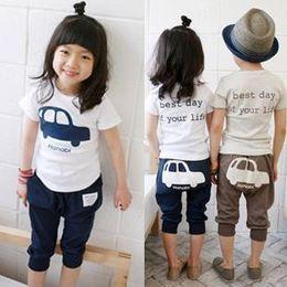 Wholesale 2013 Summer children s clothing children s clothing boys girls elephant suit Car Kit sleeved PP pants