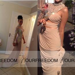 Wholesale 2015 New Design Crystal High Neck Evening Kim Kardashian Dress Gowns Vestidos Long Prom Celebrity Dresses Red Carpet