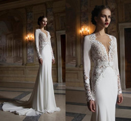 Wholesale 2016 New Lace Berta Wedding Mermaid Dresses Plunging Neck Hollow Back Long Sleeves Chapel Train Custom Made Bridal Gown