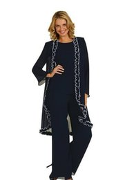 Wholesale 2015 Fall New Long Sleeve Mother of the Bride Pant Suits Custom Made Gracefully Applique Long Chiffon Three Pieces Mothers Dresses Plus Size