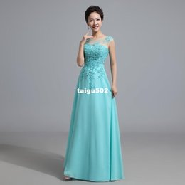Wholesale 2015 Cheap Long Lace Red Light Pink Aqua Ice Blue Ice Blue Yellow Blush Bridesmaid Dress Wedding Prom Party Dress Under