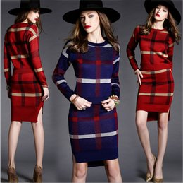 Wholesale 2015 Autumn Winter European Women Fashion Tracksuits Full Sleeve Knitting Sweaters Plaid Knitwear with Short Skirt Two piece Suits Jumpers