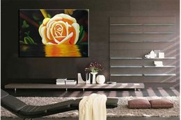 Wholesale Yellow Rose Modern Hand Painted Floral oil painting hand made D867 pure hand painted