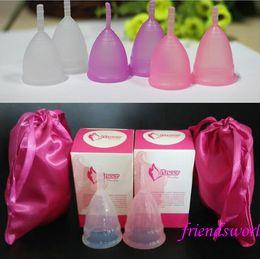 Wholesale DHL Fedex FDA Medical Silicone Menstrual cup Feminine Hygiene Clear Pink Purple Health Care