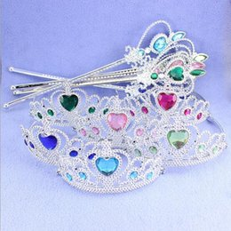 Wholesale Free DHL Frozen crown and wand Anna Elsa Tiara cosplay Crown Children Party costume