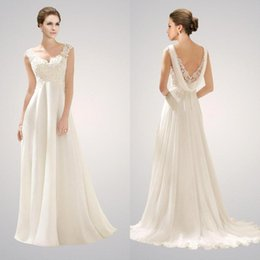 Wholesale 2015 Sexy New Sleeveless V Neck Chiffon Sheath Wedding Dresses Lace Applique Beaded Top Empire Summer Beach Plus Size Bridal Gowns