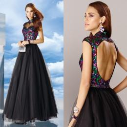 Wholesale High Collar Sparkle Sequins Quinceanera Dresses Ball Gown Short Sleeve Floor Length Tulle Pageant Dresses