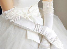 Wholesale Exceed Elbow White Cheap Cheapest White Bridal Gloves Simple Design Bridal Feast Show In Stock Cotton Material Bridal Accessories
