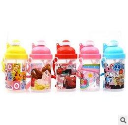 Wholesale 5 designs Children McQueen Car Mickey Hello KT Winnie Bear Princess Cup Kids Water Drinking Cup Leak Proof Bottles Cup LJJC1149