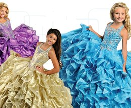 online shopping New Fashion Ball Gown Ritzee Girls Pageant Dresses Beaded Sequined Square Princess Kids Wear For Wedding Party Formal Toddler Skirt