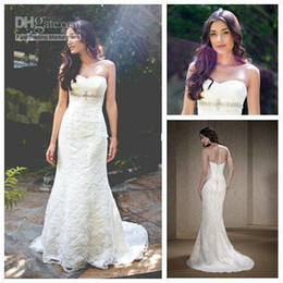Wholesale 2015 White Lace Sweetheart Beading Mermaid Wedding Dresses Long Flamboyantly Grecian Style Wedding Dresses Bridal Gowns
