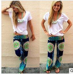 Wholesale 2015 summer women pants Casual High Waist Flare Wide Leg Long Pants Palazzo Trousers Plus Size floral classic exuma pant preppy