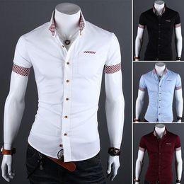 Wholesale Men Fashion Clothes Shirts For Men Solid Plaid Contrast Color Short Sleeve Turn down Collar Button Slim Pocket YLZ1