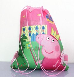 Wholesale 12pcs new peppa pig my little pony non woven string backpack for kids children s school bag