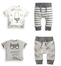 Wholesale spring infant clothes baby clothing sets boy Cotton little monsters and the lions short sleeve baby boy clothes