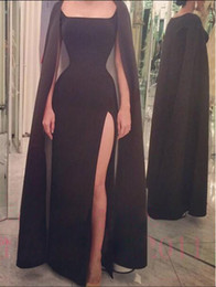 Wholesale 2016 Gorgeous Black Sonam Kapoor Full Sleeves Indian Style Scoop Sheath Sexy Evening Dresses Vestido De Festa Satin Evening Gowns With Wrap