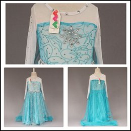 Wholesale Samgami Baby girls Frozen Elsa Princess dresses with sequins cape skirt girl cosplay costume with Diamond Snowflake in the chest Sa0009