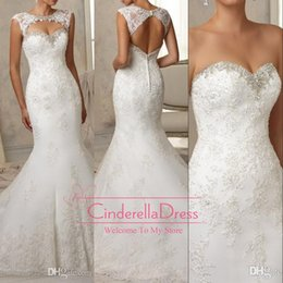 Wholesale 2015 New Elegant Mermaid Sheer Wedding Dresses Hollow Back Cap Sleeve Beaded Crystal Court Train Lace Bridal Gowns With Bolero