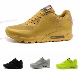 Discount Shoes Run Air Max Max 90 HYP PRM QS Men Women Running Shoes Air 90 Hyperfuse American Flag Black White Red Navy Blue Gold Silver Pink Sport Trainers