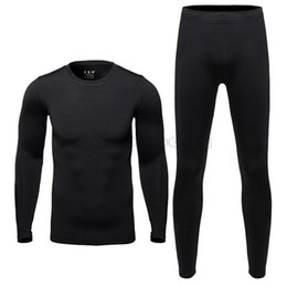 Wholesale New Men s Fleece Thermal Outdoor Sports Underwear Bicycle Skiing Winter Warm Base Layers Tight Long Johns Top Pants Set