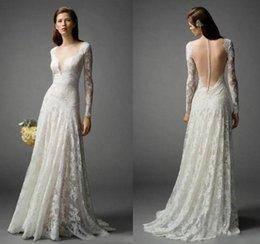Wholesale Long Sleeve Bohemian Wedding Dresses Lace Floor Length Boho Summer V Neck Sheer Bridal Dresses Ball Gowns Custom Illusion Back