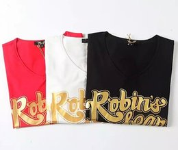 Wholesale 2016 New Arrivals Womens Robin Jeans T Shirt Ladies Short Sleeve Shirt Scoop Neck Cotton Women s Tee Tops size S XXL Black Red White