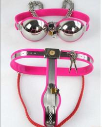 Wholesale 2016 tamanho ajustável Female Modelo Y de aço inoxidável Cinto de castidade com forro Sílica brinquedos sexuais aço inoxidável Bra Maso para as mulheres