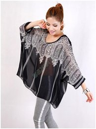 Wholesale New Fashion Women Sexy Batwing Dolman Sleeve Chiffon Shirt Bohemian Tops Oversized Blouse Black SV000782