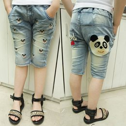 Wholesale 2013 summer new children s clothing girls jeans child washed denim pant panda embroidery patterns
