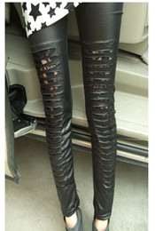 Wholesale New Arrival Fashion Sexy mesh Lace women leggings leather leggings pants for women with stripe holes