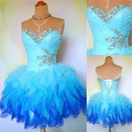 Wholesale 2015 White Blue Pink Homecoming Party Dresses Ball Gowns Sweetheart Multi Color Short Corset Prom Sweet Dress