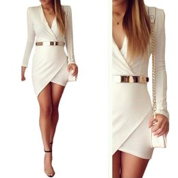 Wholesale S5Q Womens Bodycon Slim Long Sleeve Skirt Sexy Evening Party Cocktail Mini Dress AAADZD