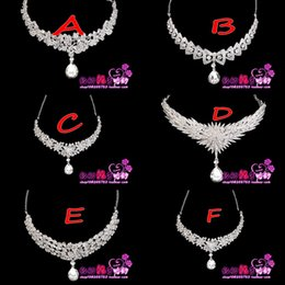Wholesale Necklaces Shining Rhinestone Pure White Statement Bridal Jewelry Sets Choker Prom Party Wedding Accessories High Quality