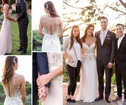 Wholesale Jenny Packham Wedding Dresses White Vintage Sheer Neck Cap Sleeve Open Back Crystals Sheath Spring Wedding Party Evening Bridal Gowns
