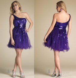 Wholesale New Arrvial Graduation Dresses With Sleeveless One Shoulder Sequins Short A Line Party Prom Gowns CC062202