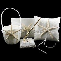 Wholesale 4Pcs set New Fashion Starfish Satin Wedding Decoration Ring Pillow Flower Basket Guest Book Pen Set Bridal Product Supplies HXZ