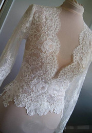 Wholesale Hot Sale Lace Bridal Wraps Ivory Or White Jackets Long Sleeves Bridal Coat For Wedding Dresses Fast Shipping Bridal Accessories