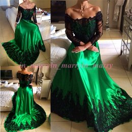 Wholesale Peacock Green Long Sleeves Prom Dresses A Line Black Lace Applqiues Plus Size Arabic Islamic Dresses Party Evening Graduation Gowns