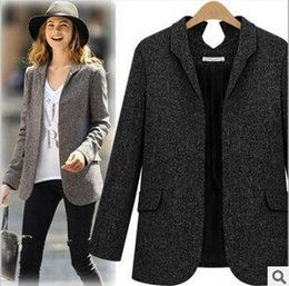 Wholesale 2015New Formal Women Suit Office Ladies Business Suit Black Gray Professional Work Wear Clothes women woolen coat with fur